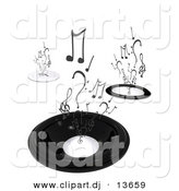 Clipart of a Abstract Black Speakers with Music Notes Rising up by