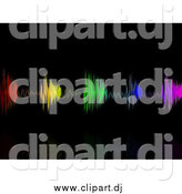 Clipart of a Background of Colorful Equalizer Waves over Black by Elaineitalia
