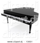 Clipart of a Black 3d Piano by Andresr