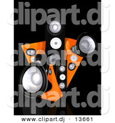 Clipart of a Black and Orange 3d Speaker Towers Against Black Background by