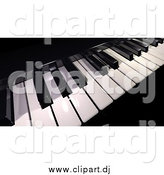 Clipart of a Black and White 3d Piano Keyboard by Frank Boston