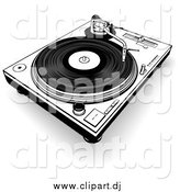 Clipart of a Black and White Record Player by Dero