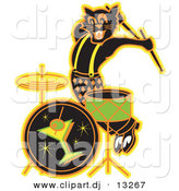 Clipart of a Black Cartoon Cat Playing Drums at a Bar by Andy Nortnik
