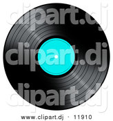 Clipart of a Black LP Vinyl Record with a Turquoise Label by Oboy