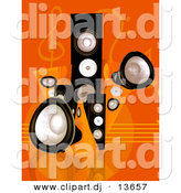 Clipart of a Black Speaker Towers Against Orange Music Notes Background by