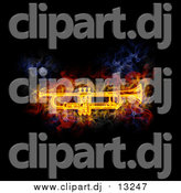 Clipart of a Blazing Cornet or Trumpet over Black by Michael Schmeling