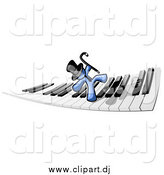 Clipart of a Blue Man Dancing on a Piano Keyboard by Leo Blanchette