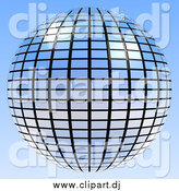 Clipart of a Blue Mirror Disco Ball on Blue by ShazamImages