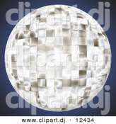 Clipart of a Bright Chrome Disco Ball over Dark Blue Background by Arena Creative