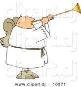 Clipart of a Cartoon Angel with Wings Playing a Horn by Djart