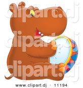 Clipart of a Cartoon Baby Hippo Playing Tambourine by Alex Bannykh