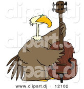 Clipart of a Cartoon Bald Eagle Playing Double Bass Instrument by Djart