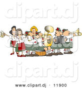 Clipart of a Cartoon Band Playing Festive Oktoberfest Music by Djart