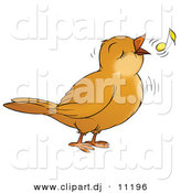 Clipart of a Cartoon Bird Singing with a Yellow Music Note by Alex Bannykh