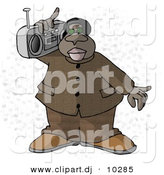 Clipart of a Cartoon Black Man Listening to Music with Portable Boombox Stereo over His Shoulder by Djart