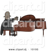 Clipart of a Cartoon Black Pianist Sitting on a Bench and Playing a Grand Piano by Dennis Cox