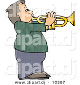 Clipart of a Cartoon Boy Playing Trumpet by Djart