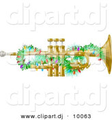 Clipart of a Cartoon Brass Trumpet Instrument with Christmas Lights by Djart