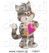 Clipart of a Cartoon Cat Playing an Accordion by Alex Bannykh