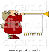 Clipart of a Cartoon Christmas Angel Playing Horn with Blank Sign by Djart