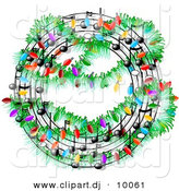 Clipart of a Cartoon Christmas Music Symbols with Lights by Djart