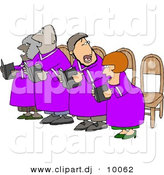 Clipart of a Cartoon Church Chorus Singing from Bible Books by Djart