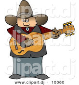Clipart of a Cartoon Country Cowboy Playing a Guitar by Djart