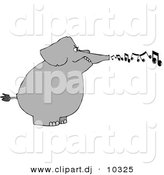 Clipart of a Cartoon Elephant Blowing Music Notes by Dennis Cox
