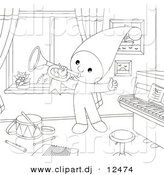 Clipart of a Cartoon Elf Playing Horn in a Musical Room - Outlined Coloring Page Art by Alex Bannykh