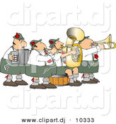 Clipart of a Cartoon German Band Playing Music by Dennis Cox