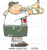 Clipart of a Cartoon German Trombone Player by Djart