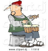 Clipart of a Cartoon Guy Playing Bongos by Djart