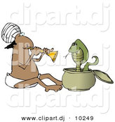 Clipart of a Cartoon Indian Man Charming Snake with Music by Djart