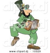 Clipart of a Cartoon Irish Leprechaun Playing an Accordion by Dennis Cox
