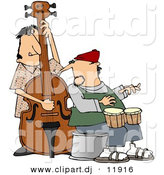 Clipart of a Cartoon Jazz Couple Playing Bass and Bongos by Djart