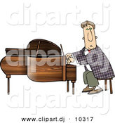 Clipart of a Cartoon Man Playing Grand Piano by Dennis Cox