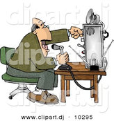 Clipart of a Cartoon Man Talking over Radio at an Old Broadcast Station by Djart