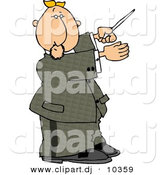 Clipart of a Cartoon Music Conductor Directing a Musical by Djart