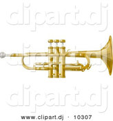 Clipart of a Cartoon Music Trumpet by Djart