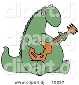 Clipart of a Cartoon Musical Dinosaur Singing While Playing Guitar by Djart