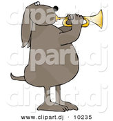 Clipart of a Cartoon Musical Dog Playing a Golden Trumpet by Djart