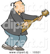 Clipart of a Cartoon Old Rocker Man Playing Guitar by Djart