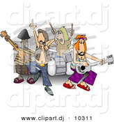 Clipart of a Cartoon Rock and Roll Band Playing Music by Djart