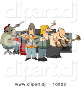 Clipart of a Cartoon Rock Band Playing by Djart