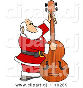 Clipart of a Cartoon Santa Claus Playing Double Bass by Djart