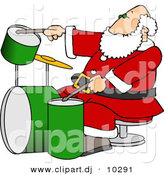 Clipart of a Cartoon Santa Claus Playing Drums by Djart