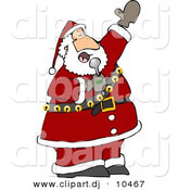 Clipart of a Cartoon Santa Singing Christmas Music by Djart