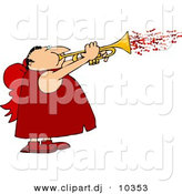 Clipart of a Cartoon Valentine Cupid Man Blowing Love Hearts out of a Trumpet by Djart