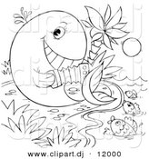 Clipart of a Cartoon Whale Playing an Accordion to Fish in the Sea - Outlined Coloring Page Art by Alex Bannykh
