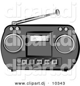 Clipart of a Classic Potable Boombox Radio - Catoon Styled by Djart